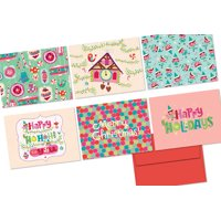 72 Note Cards - Dandy Christmas - 6 Designs - Blank Cards - Red Envelopes Included