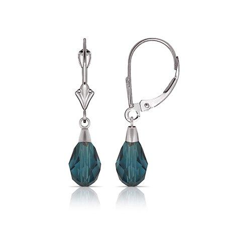 - 14k White Gold Blue Zircon 9x6mm Crystal Pear Drop Leverback Earrings - Measures 29x6mm