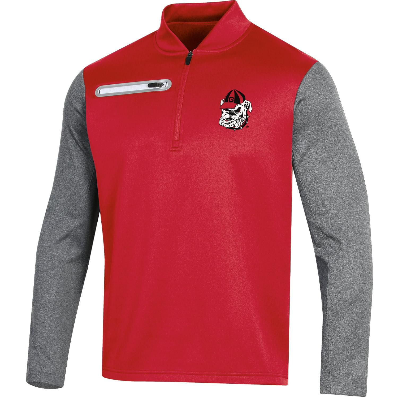 Men's Russell Red Georgia Bulldogs Colorblock Half-Zip Pullover Jacket
