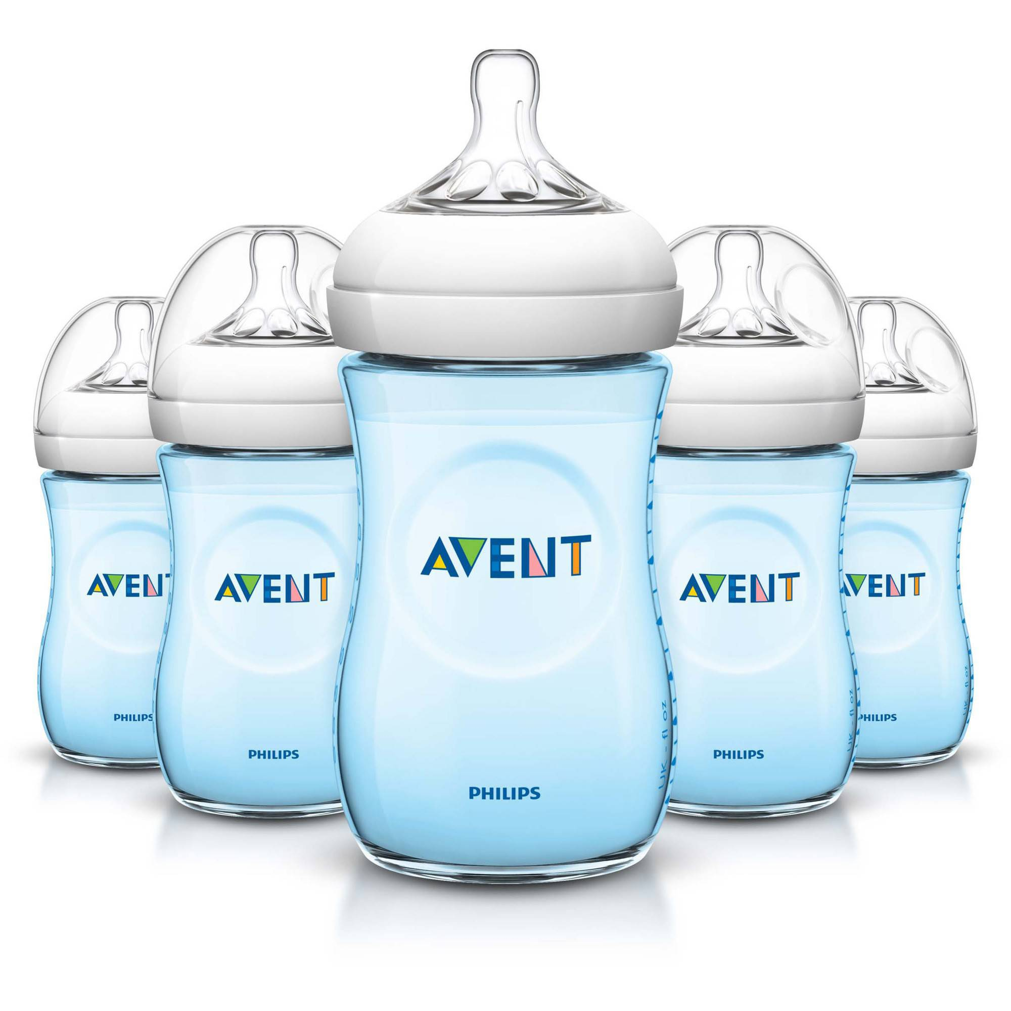 Philips Avent BPA Free Natural Blue Baby Bottles, 9 Ounce, 5 Pack by Philips