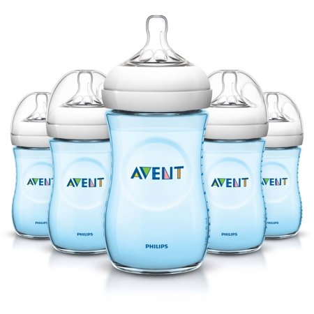 Philips Avent Bpa Free Natural Blue Baby Bottles  9 Ounce  5 Pack