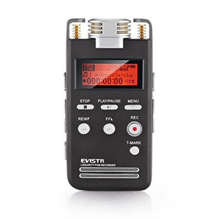 EVISTR Voice Recorder 8GB PCM 1536K Clear Stereo Audio, L53 Voice Activated Recorder Digital Dictaphone Recorder Portable Recording Device Double HD Adjustable Microphone, Noise Reduction