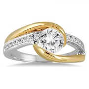 AGS Certified 1 1/5 Carat TW Diamond Engagement Ring in Two Tone 14K Gold (I-J Color, I2-I3 Clarity)