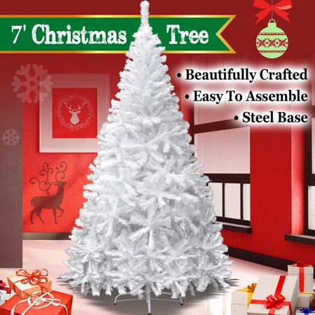 7ft Artificial Christmas Tree W/ Steel Base--White ()