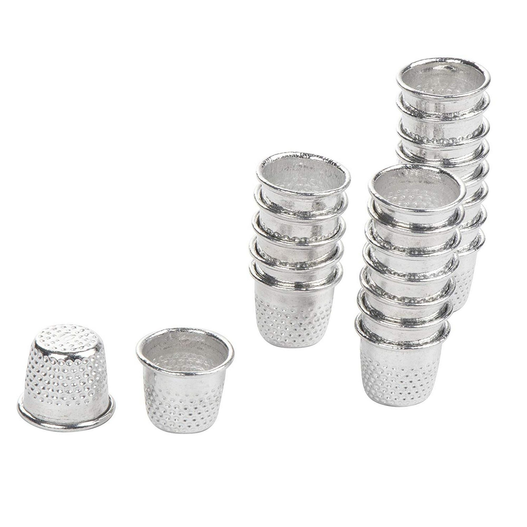 Romote 10PCs Silver Toned Metal 17-19mm Vintage Sewing Thimbles for DIY Crafts Finger Protector