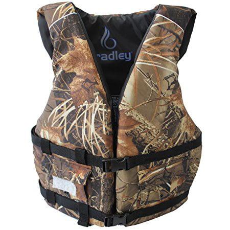Bradley Camo Fishing Vest Life Jacket US Coast Guard Approved PFD with 2 pockets by Bradley