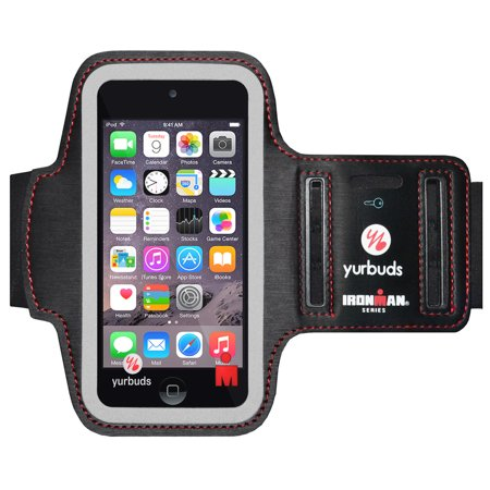 Yurbuds IronMan Series Slim Breathable Soft Neoprene Adjustable Armband with Screen Guard Key Pouch Night Safety Reflectors for Apple iPod