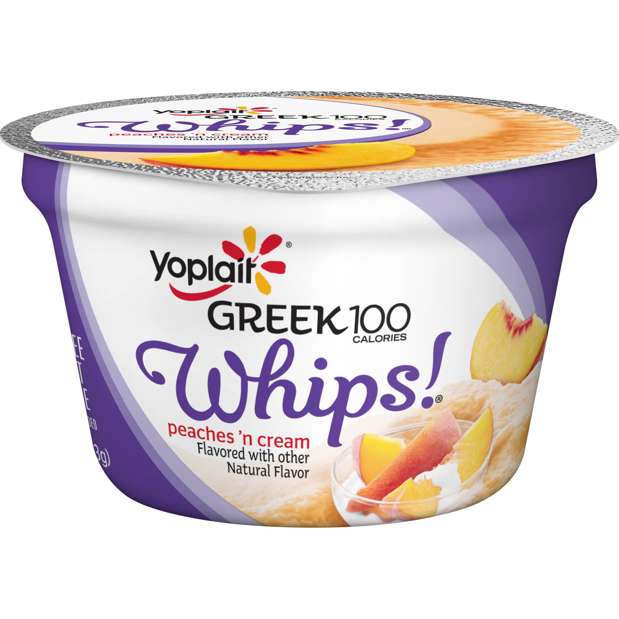 Yoplait Greek 100 Calories Whips! Peaches 'n Cream Fat Free Yogurt Mousse, 4 oz