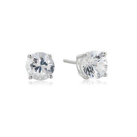 Sterling Silver 7 MM Lab-Created White Sapphire Gemstone Round Stud Earrings