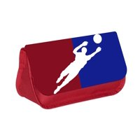 """Basketball Game Player Silhouette - Boys / Girls 5"""" x 8.5"""" Red Pencil Case with 2 Zippered Pockets and Velcro Closure"""