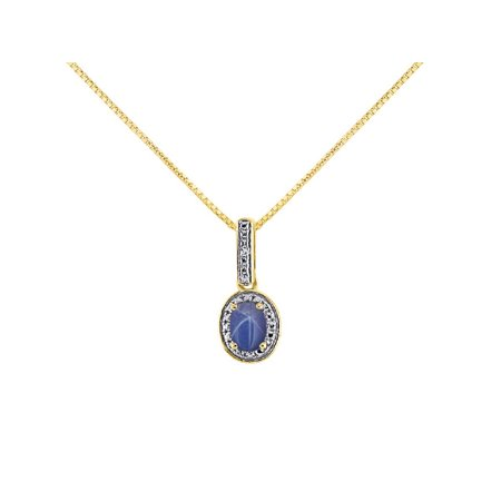 "Diamond & Blue Star Sapphire Pendant Necklace in 14K Yellow Gold With 18"" Gold Chain -  Birthstone Color Stone Halo Designer LP5313LSY-B"