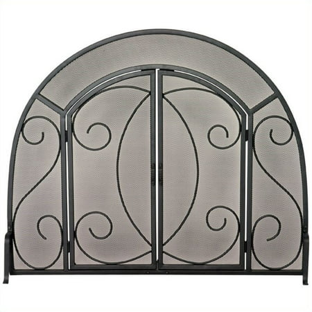 Wrought Iron Glass Doors (Uniflame Single Panel Black Wrought Iron Ornate Screen With)