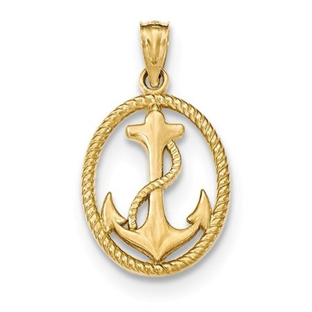 14k Gold Polished Anchor w/Rope Oval Pendant