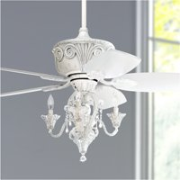 """44"""" Casa Vieja Vintage Chic Ceiling Fan with Light LED Dimmable Crystal Chandelier Rubbed White Living Room Kitchen Bedroom"""
