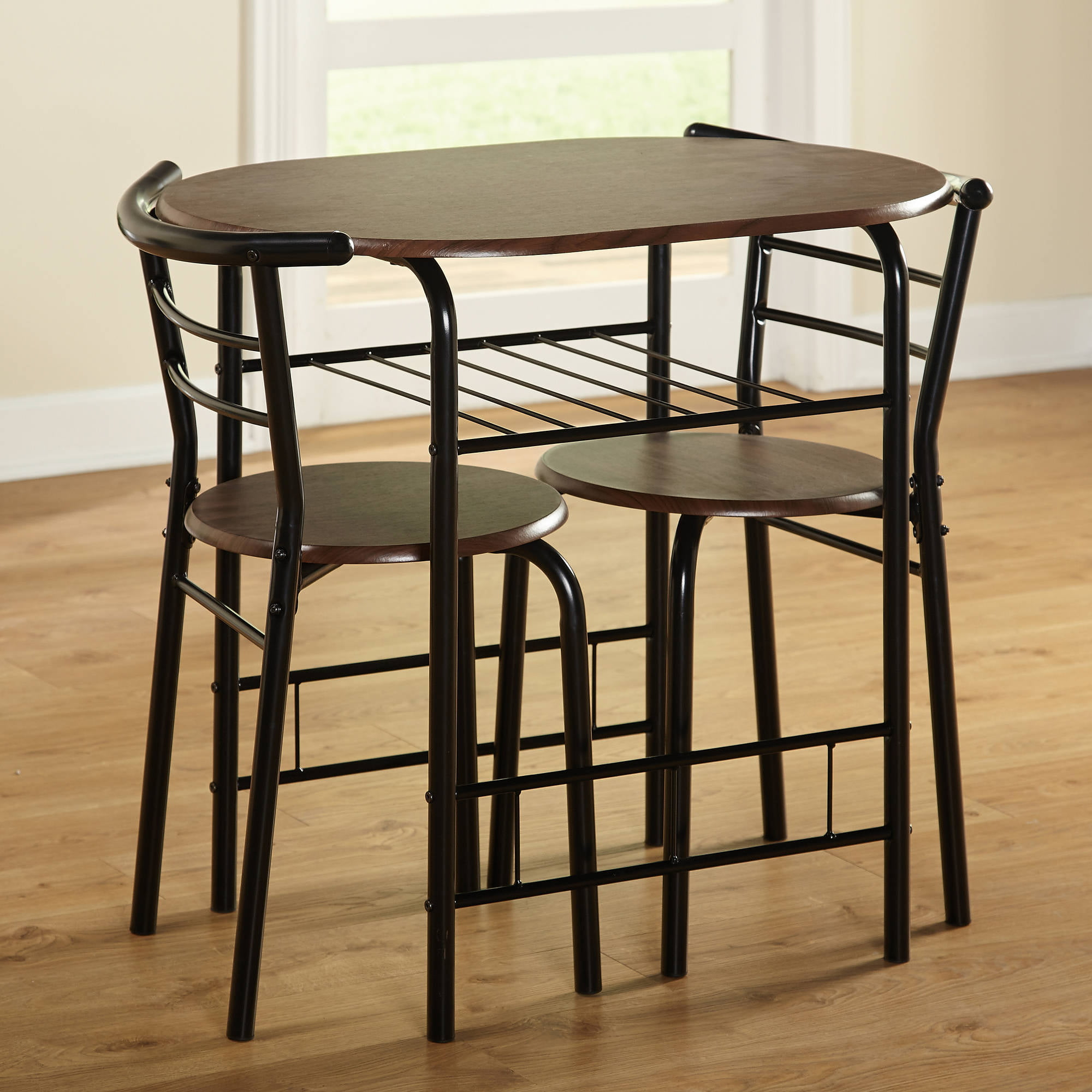 Indoor Kitchen Bistro Dining Set Espresso Black Table Chairs Furniture