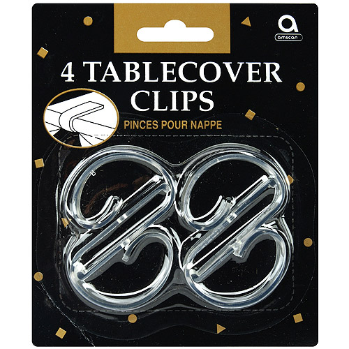 Tablecover Clips, 4-Pack, Clear Plastic