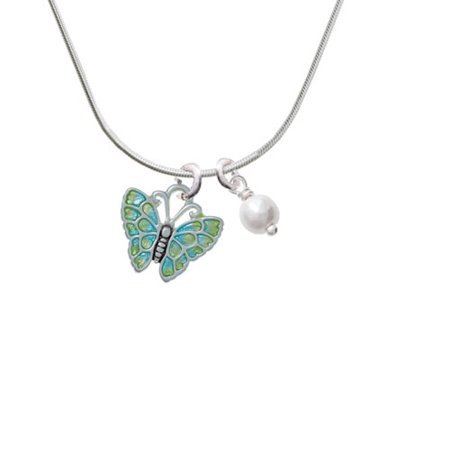 Lime Green & Blue Butterfly - Imitation Pearl Bicone Crystal Necklace - Lime Green Zoot Suit