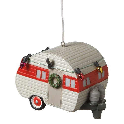 Decorated for Christmas Holiday Teardrop Camper Trailer Ornament
