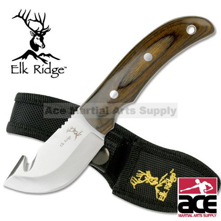 Elk Ridge Gut Hook Skinner Knife with Pakkawood
