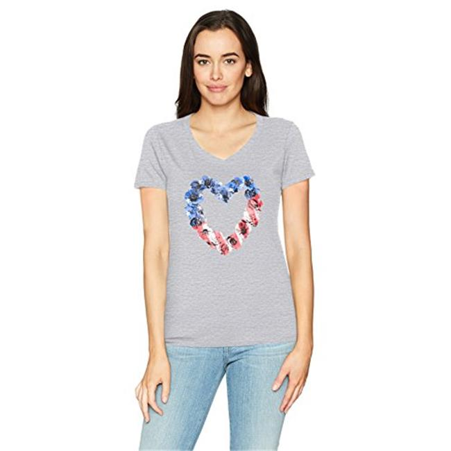 Hanes 00617914395599 Womens Stars & Stripes Floral Heart Short Sleeve V-Neck Tee, Light Steel - Extra Large - image 1 of 1