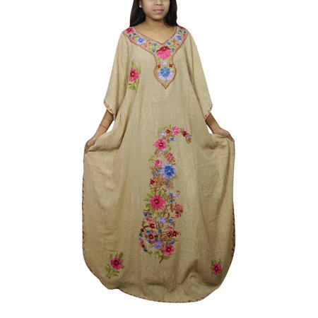 Exotic Dancer Gowns (Mogul Women's Floral Kimono Caftan Embellished Housedress Nightwear Lounge Wear Resort Style Nightgown)