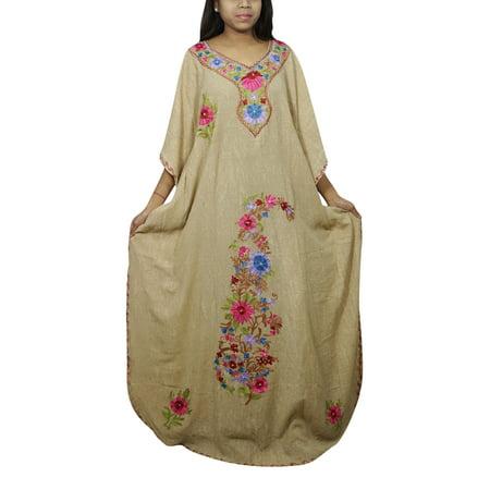Lounge Gown (Mogul Women's Floral Kimono Caftan Embellished Housedress Nightwear Lounge Wear Resort Style Nightgown)