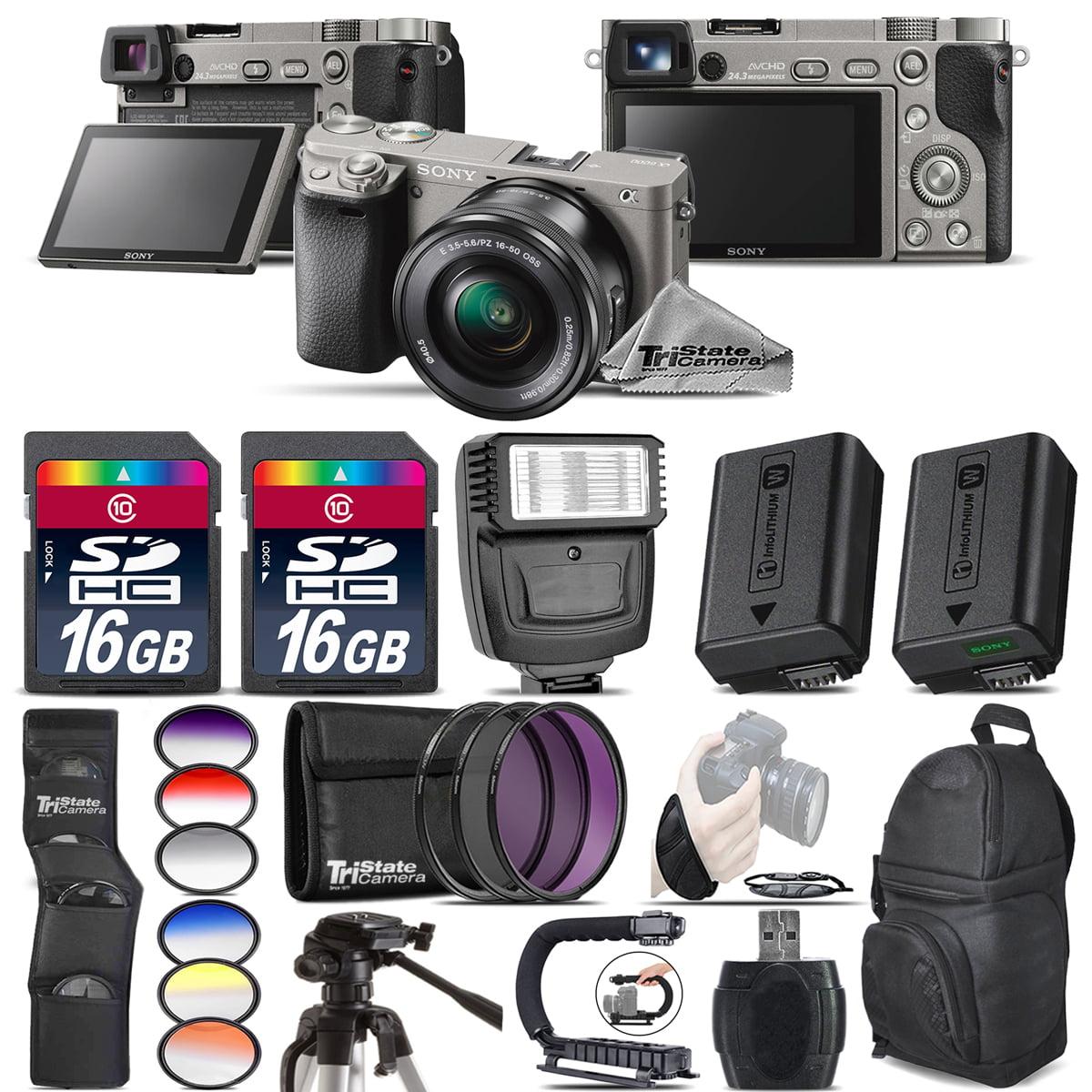 Sony Alpha a6000 Mirrorless Camera + Flash + Extra Battery + UV-CPL-FLD + 32GB