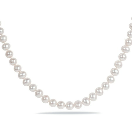 6.5-7mm White Cultured Freshwater Pearl Sterling Silver Stand Necklace, -