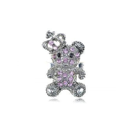 Teddy Bear Roses (Pink Rose Crown King Teddy Cuddle Bear ChicCrystal Rhinestone Fun Ring )