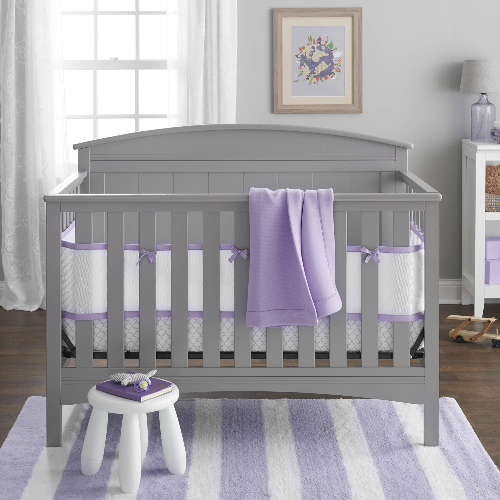 BreathableBaby 4-Piece Deluxe Breathable Embossed Crib Bedding Set, Lavender