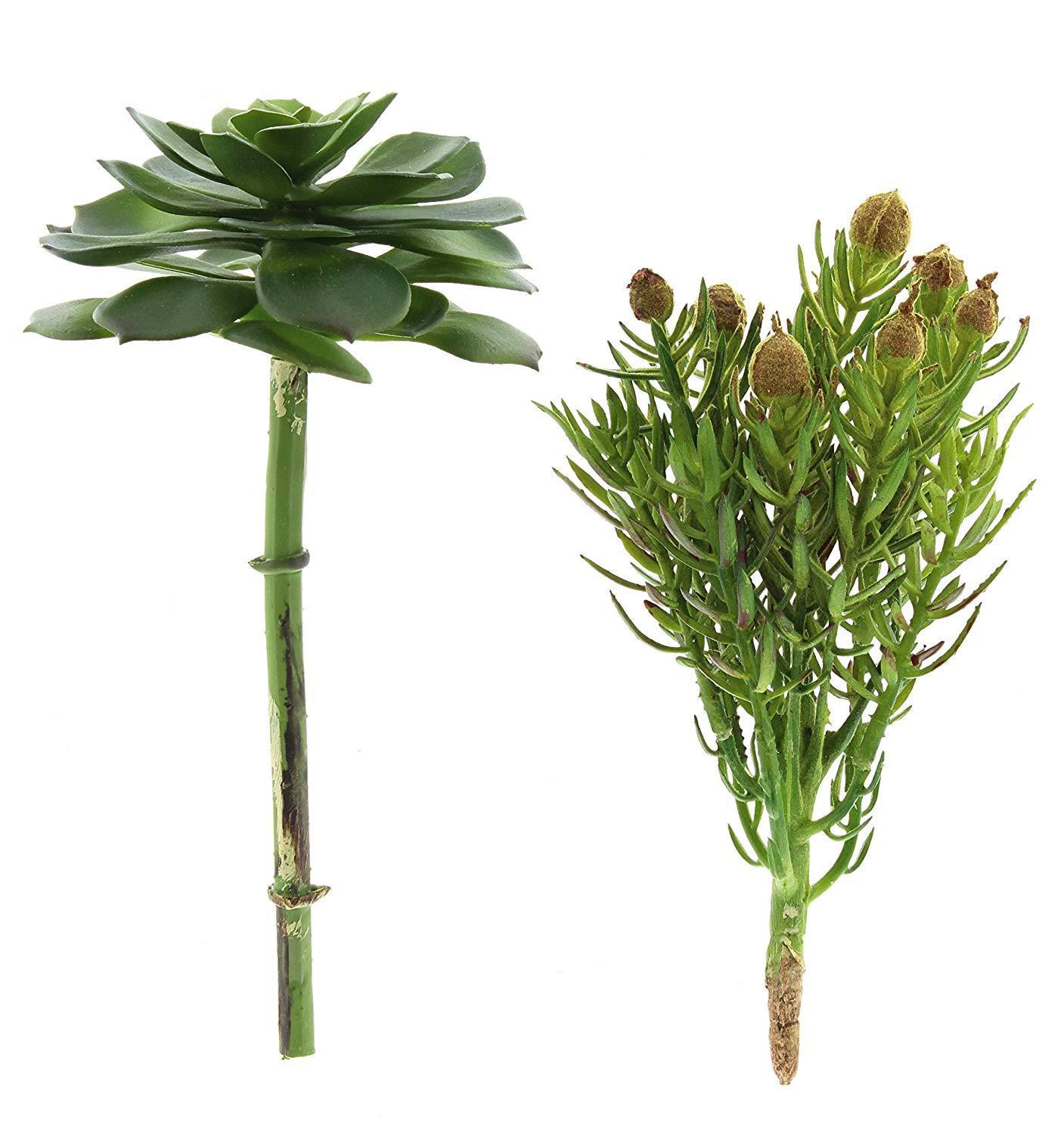"Set of 2 Artificial SUCCULENT STEMS, 8"" Tall, by LarkSilk"