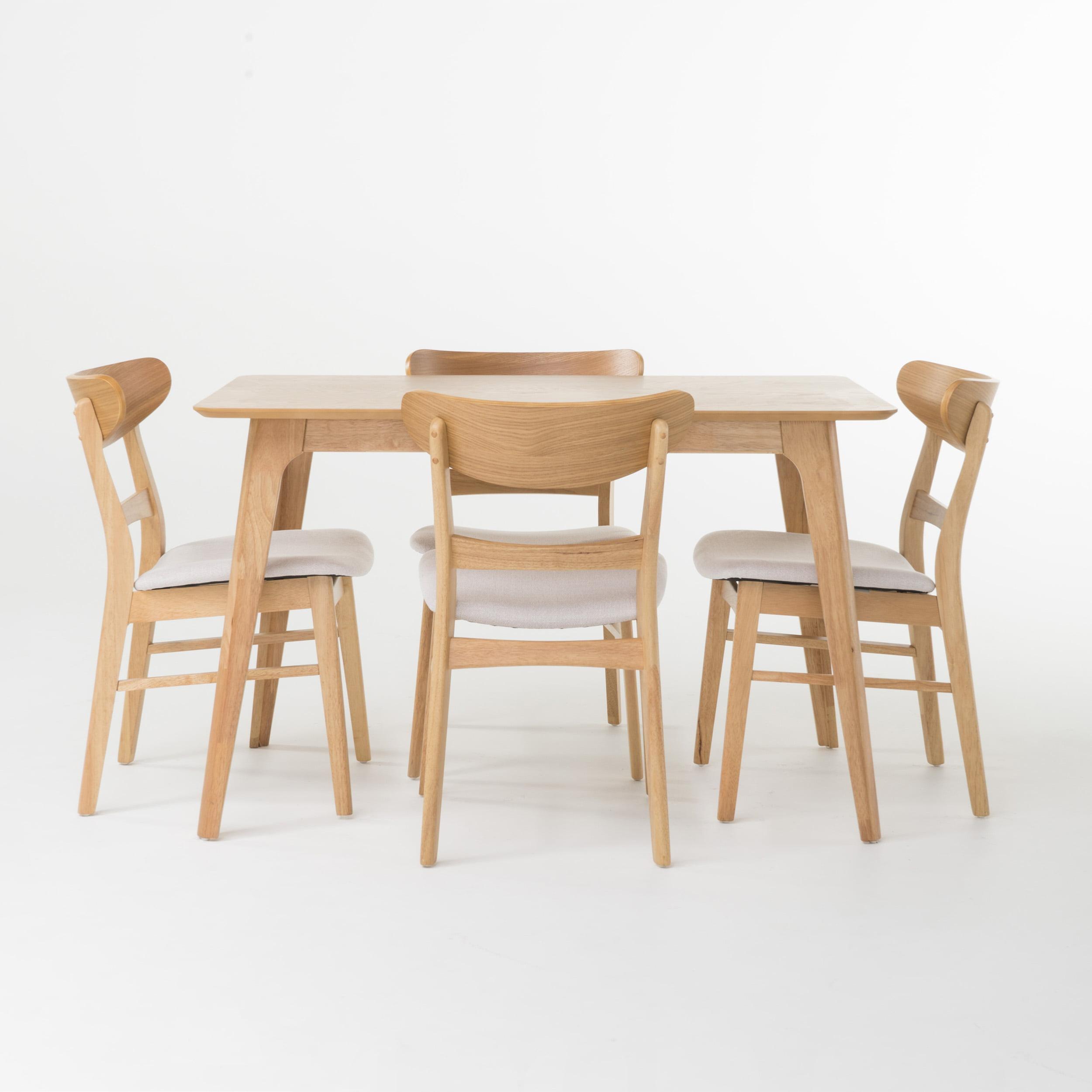 """Helen 5 Piece, 50"""" Rectangular Natural Oak Finish Dining Set, Light Beige Fabric"""