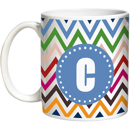 Personalized 15-Ounce Chevron Coffee Mug, 15 oz - Blue