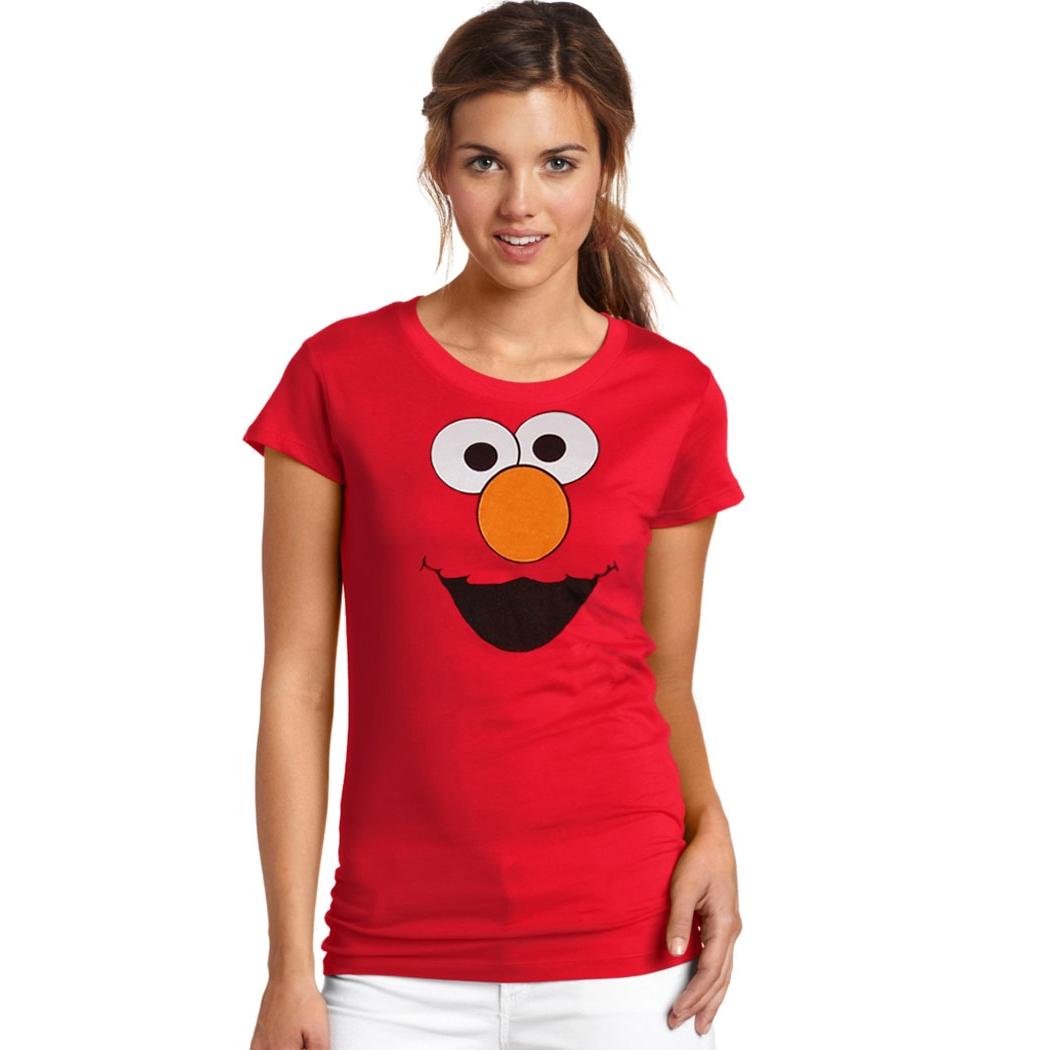 Sesame Street Elmo Silly Face Junior Ladies T-Shirt