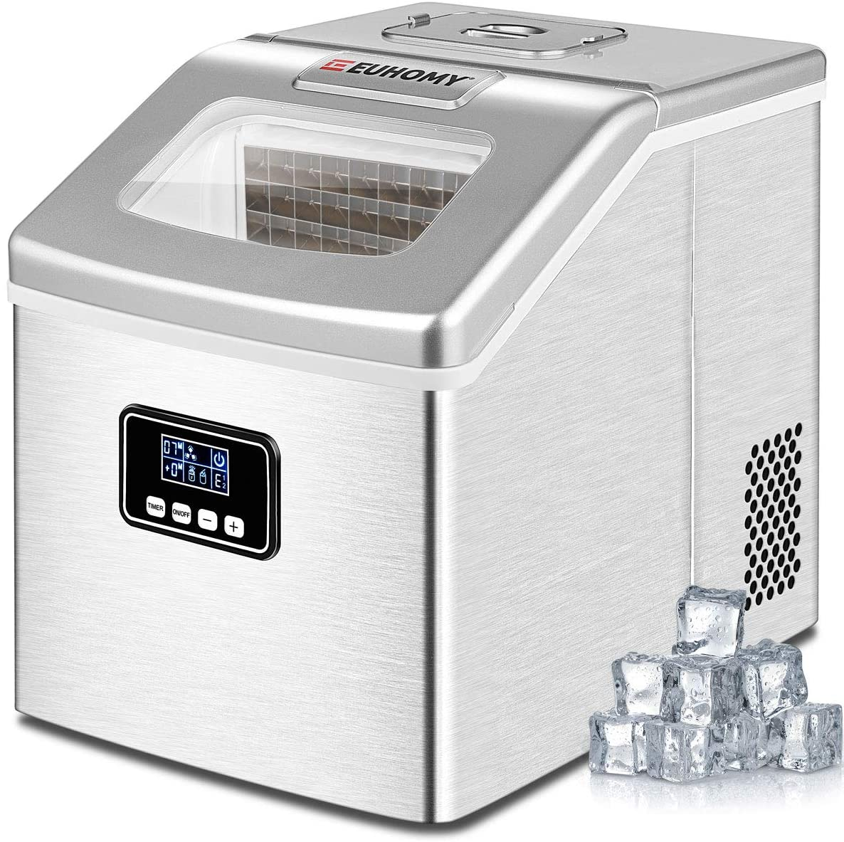 Euhomy Ice Maker Machine Countertop 40lbs 24h Portable Compact Ice Cube Maker With Ice Scoop Basket Perfect For Home Kitchen Office Bar Sliver Walmart Com Walmart Com