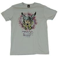 Thor (Marvel Comics) Mens T-Shirt - Screaming Flowing Locks Splatter Image