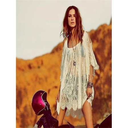 373b56941e2 Vintage Hippie Boho Beautiful Embroidered Floral Lace Crochet Mini Dress - Hippie  Dress