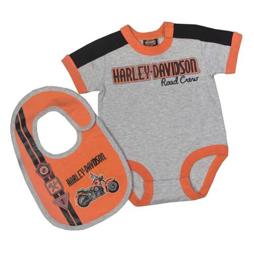 Harley-Davidson 6-9 Months  Baby Boys' Interlock Newborn Creeper & Bib Set  (6/9M) 3051659