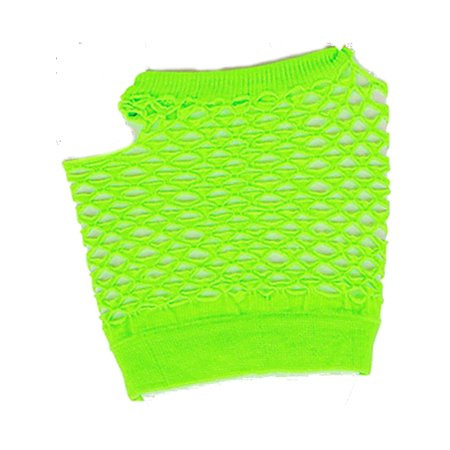 Adults  Neon Green Fishnet Fingerless 80s Rock Costume Half Gloves