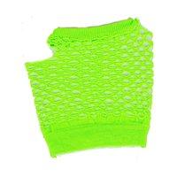 Adults  Neon Green Fishnet Fingerless 80s Rock Costume Half Gloves
