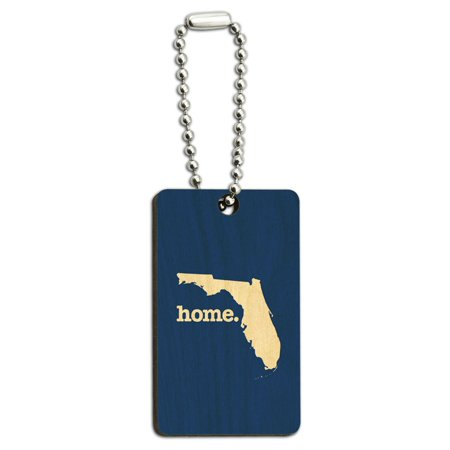 - Florida FL Home State Wood Wooden Rectangle Key Chain - Solid Navy Blue