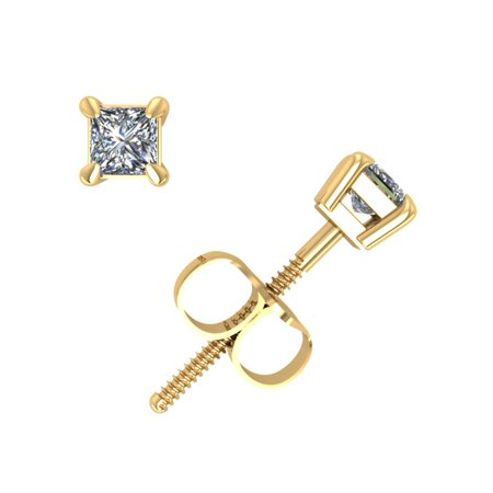 0.25Ct Princess Cut Diamond Basket Stud Earrings 14k Yellow Gold Prong Set K I2