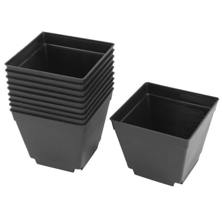 Square Plant Pots (10pcs Coffee Shop Plastic Square Flower Plant Pot Holder Garden)