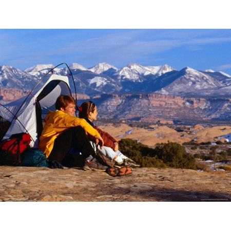 Couple Camping at Slickrock with Snow-Capped Peaks in the Background, Utah, USA Print Wall Art By Cheyenne Rouse (Snow Peak Camp)