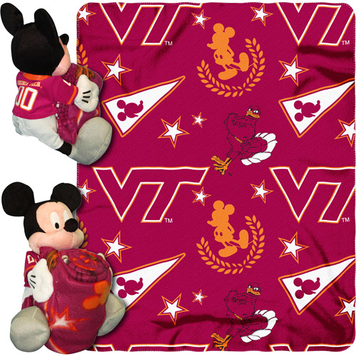 "Disney NCAA Hugger Pillow and 40"" x 50"" Throw Set, Virginia Tech Hokies"