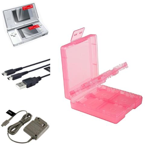 Insten Coral 16in1 Card Case+USB+Grey AC Charger+2-LCD Protector For Nintendo DS Lite