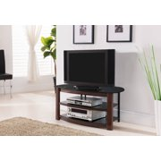 "42"" Brown Metal & Black Tempered Glass Top Entertainment Center TV Console Stand With Storage Shelves"