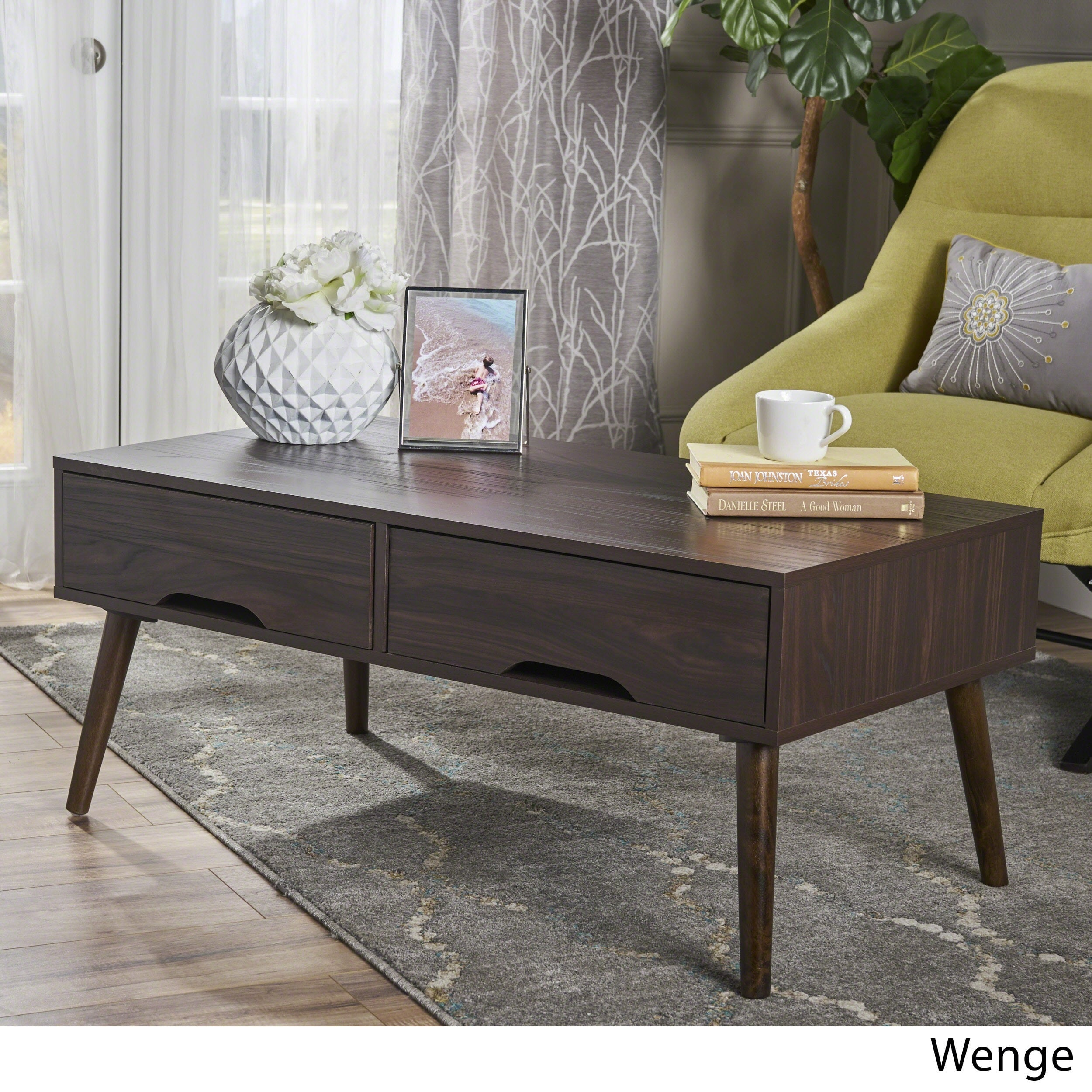 Christopher Knight Home Noemi Mid Century Modern Rectangular Wood Coffee  Table With Drawers By