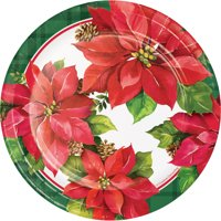 """Christmas Poinsettia 7"""" Dia. Paper Luncheon Plate,Pack of 8 EA"""