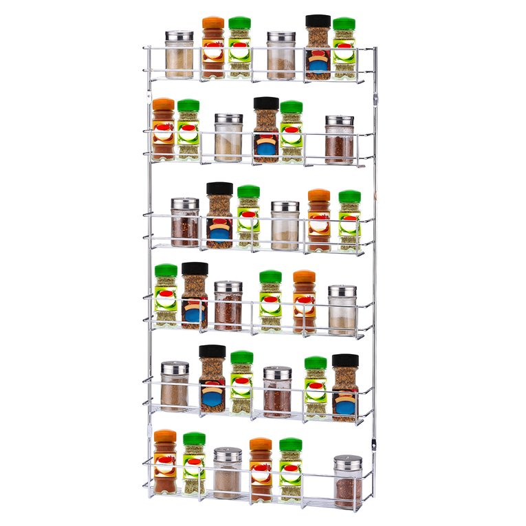 6 Layers Metal Spice Rack Door Wall Mounted Storage Shelf Multipurpose Pantry  Holder Cabinet Organizer